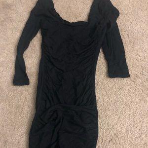 Black tight quarter sleeve mini dress